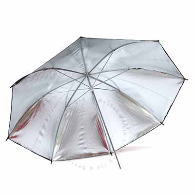 90cm Umbrella 7mm stem - Silver reflective